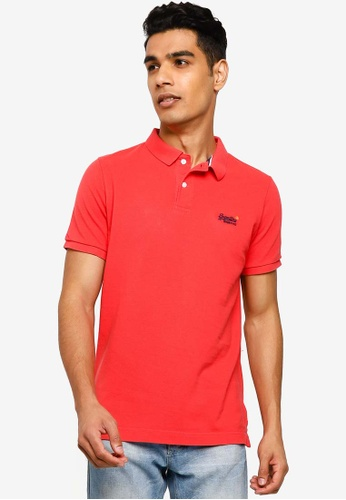 Superdry red Classic Pique Short Sleeve Polo Shirt - Vintage Logo Emblem 71884AA266812AGS_1