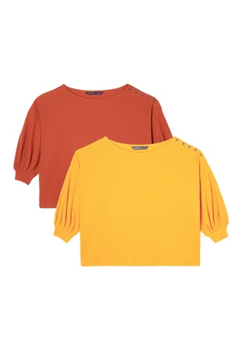 Gen Woo orange and yellow and multi Pack of 2 Waffle Tops by Gen Woo 7A11AAA7AB9FA0GS_1