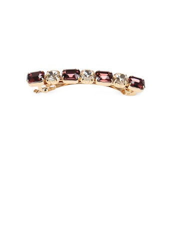 Glamorousky red Fashion and Simple Plated Gold Geometric Dark Red Cubic Zirconia Hair Clip 72B39ACED68BE4GS_1
