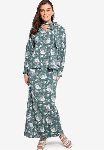 Lubna green Tie Neck Puff Sleeve Kurung 3B100AA71FF31CGS_1