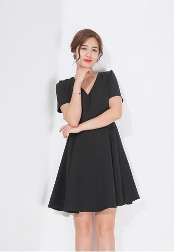 Zafiti black V Neckline Short Sleeves A-line Dress 5661AAADFF873AGS_1