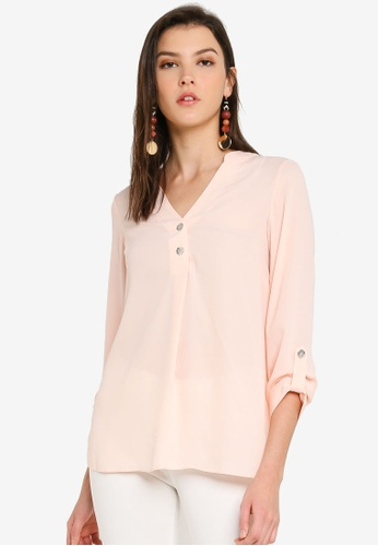 Dorothy Perkins pink Blush Button Roll Sleeve Blouse 40CAEAA08EE4FDGS_1
