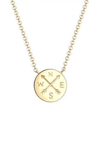 Elli Germany gold Perhiasan Wanita Perak Asli - Silver Kalung Kompas Talisman Gold Plated A183AAC8C14F14GS_1