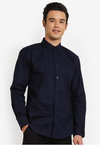 ZALORA 海軍藍色 Skinny Fit Oxford Long Sleeve Shirt 093F7AAFC7F795GS_1