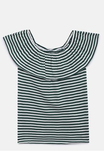 ZALZA green Liatris 100% Organic Cotton Knitted Girls Off-shoulder Top - Forest Biome E8142KAFC90887GS_1