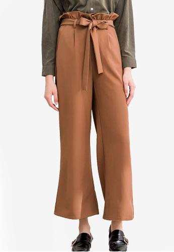 Kodz brown Ribbon Detailed Wide Leg Pants 59C7FAADFC7B30GS_1