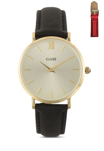 Minuit AMOUR 經典圓錶禮品盒esprit 品牌, 錶類, 皮革錶帶