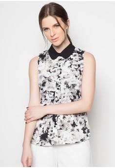 Karina Sleeveless Buttondown Floral Top