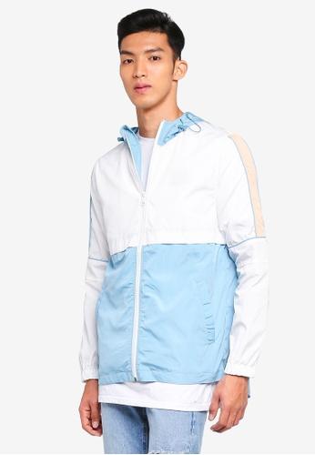 Cotton On white and blue Retro Spray Zip Thru Jacket 49094AAC8C5F07GS_1
