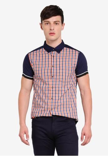 Fidelio orange Contrast Collar & Shoulder Checkered Short Sleeves Shirt 62619AAC0DCACEGS_1