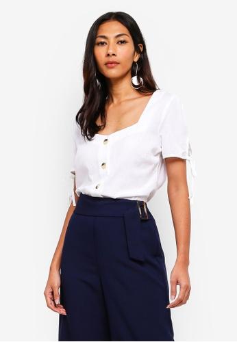 Dorothy Perkins white Ivory Linen Button Top 5018CAA8E78719GS_1