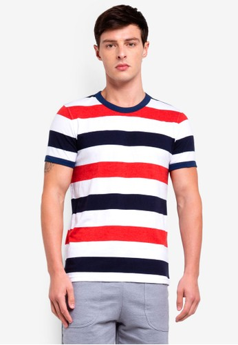 UniqTee black and multi Striped T-Shirt 0469FAAF8CE79BGS_1