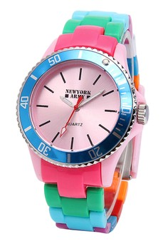 Newyork Army Women's Pink Dial Muliticolor Strap Watch NYA103