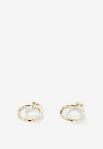 MONDAY EDITION white and gold Pearl Circle Earrings D5174ACE46080DGS_1