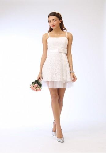甜美白花瓣雷絲網紗澎裙細尖沙咀 esprit肩帶小禮服, 服飾, 短洋裝