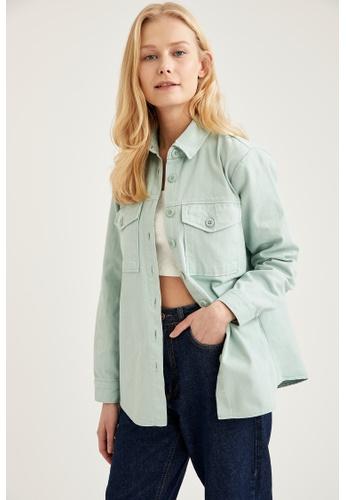 DeFacto green Long Sleeve Shirt Jacket B0A65AAEBDFA0FGS_1