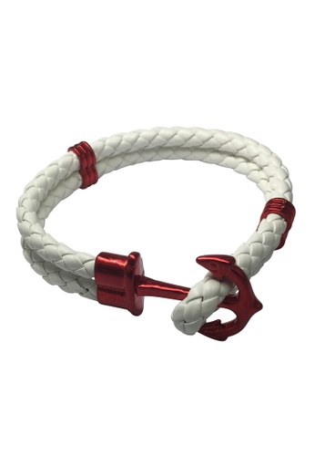 Splice Cufflinks white Grapple Series White PU Leather Dark Red Anchor Bracelet SP744AC48XFRSG_1