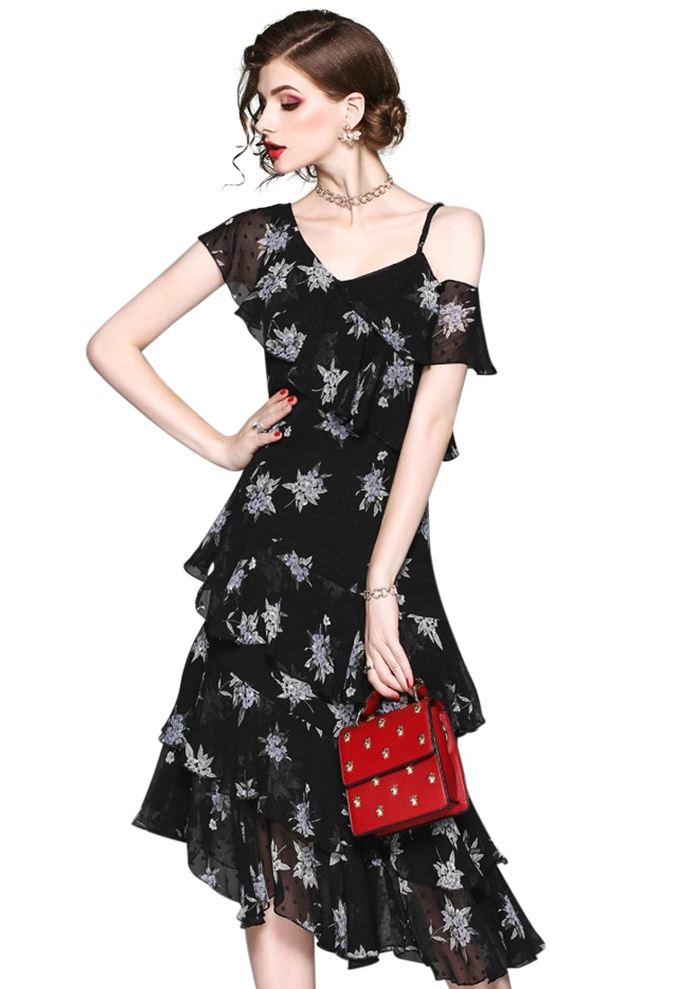 Black Piece Sunnydaysweety One New Chiffon 2018 CA071840BK Shoulder Dress Ruffle One xq41fvYf
