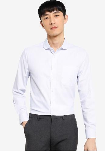 ZALORA BASICS white and blue Regular Fit Club Collar Shirt CDC47AAD09EE2EGS_1