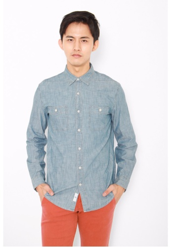 Dockers navy Dockers Chambray Long Sleeve Fitted Shirt Chambray DO282AA0G6OLSG_1