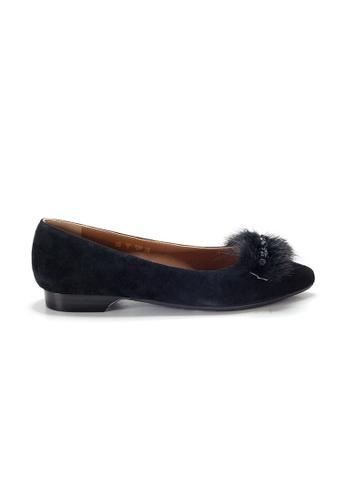 Shu Talk black LeccaLecca Suede Leather Fur trim Pointy-toe Flats 459B3SH9342E77GS_1