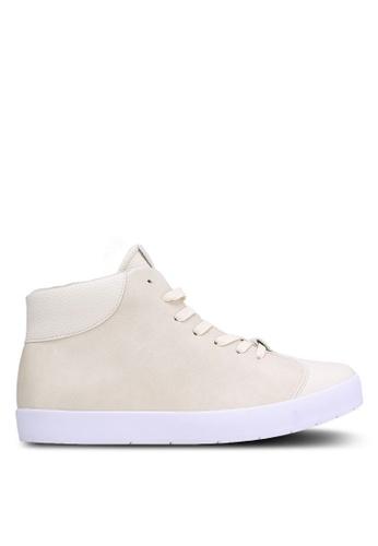 ZALORA beige Faux Leather High Top Sneakers 8AE88SH4E8F9FBGS_1