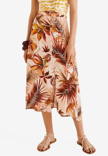 Mango white Printed Long Skirt 41EE2AA7A69461GS_1
