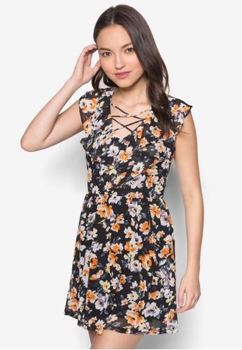 Love 荷葉飾連身zalora時尚購物網評價裙, 服飾, 洋裝