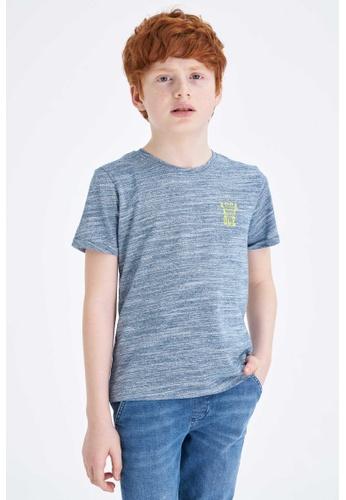 DeFacto blue Boy Knitted Short Sleeve T-Shirt DA07AKA3FC5104GS_1