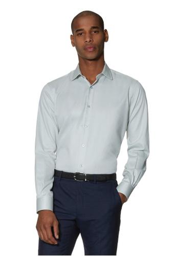 T.M. LEWIN green T.M.Lewin Circle Dobby Sage Single Cuff Shirt EE7CCAA23ED004GS_1