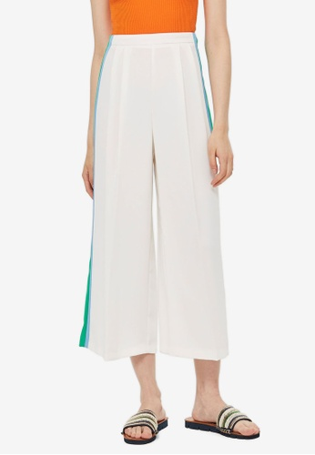 TOPSHOP white and multi Side Stripe Crop Wide Trousers CDAB2AAAFDEAB8GS_1