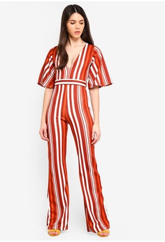 cb0c96fdcc2 MISSGUIDED orange and brown Stripe Kimono Sleeve Jumpsuit EE084AA3D4ECB1GS 1