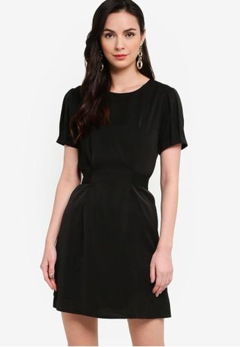 ZALORA WORK black Tie Back Pleated Sleeves Dress 85035AA7B9F591GS_1