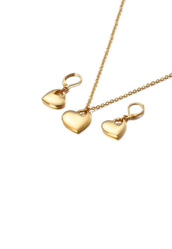 Glamorousky silver Simple and Fashion Plated Gold Hollow Heart-shaped 316L Stainless Steel Necklace and Earrings Set 5C761AC8F68F19GS_1