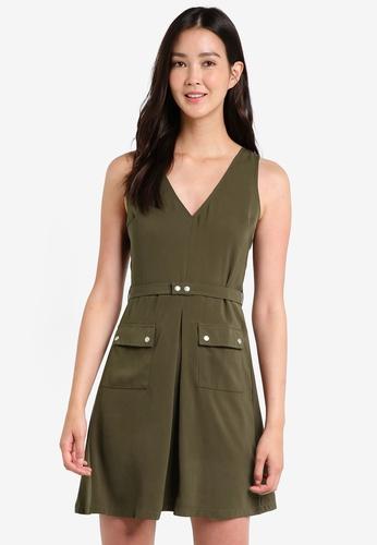 ZALORA green Utility Fit & Flare Dress 0050FAA4C3334BGS_1