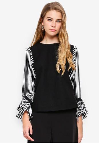 bYSI black and multi Stripe Pleated Sleeve Top 0ACF2AA92F751FGS_1