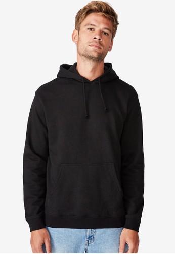 Cotton On black Essential Fleece Pullover Hoodie 94FE8AAD4C4B70GS_1