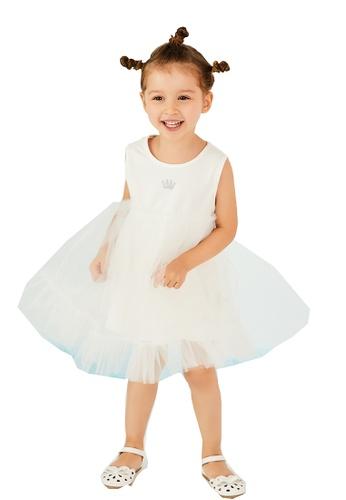 M.Latin white Sleeveless A-Line Dress with Mesh 4E3BAKADA32BA5GS_1