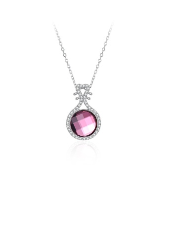 Glamorousky pink 925 Sterling Silver Elegant Fashion Chinese Lute Pendant Necklace with Red Austrian Element Crystal 06D6BAC5C65320GS_1