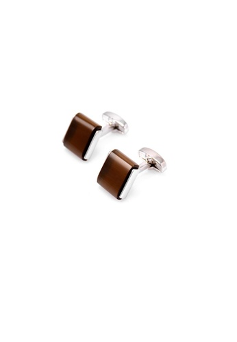 Kings Collection Coffee Rectangular Cat Eye Cufflinks KI358AC0GJT9SG_1