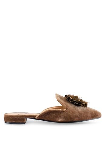 Berrybenka 褐色 絲絨穆勒鞋 54911SH3D6AF6DGS_1