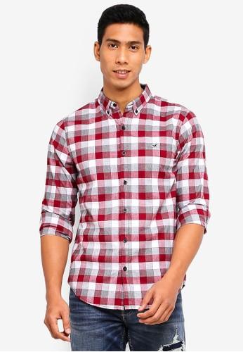 Hollister red and multi Slim Poplin Shirt A66EEAA7F2211AGS_1