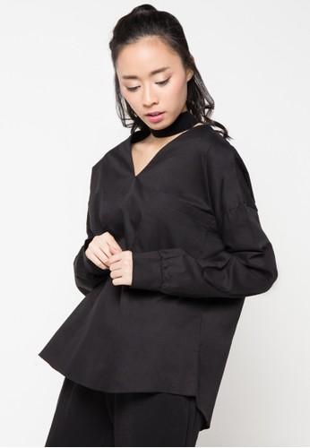 Envy Look black Pocket Double V Shirt EN694AA41CRUID_1
