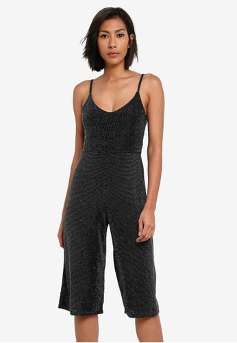 Miss Selfridge black Petite Shimmer Jumpsuit MI665AA0S7BXMY_1