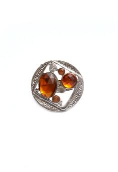 Fashion Jewelry Big Ring Statement Orange Stone