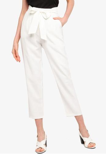 ZALORA WORK white Tie Waist Peg Leg Long Pants 4A7E2AA6E7B358GS_1