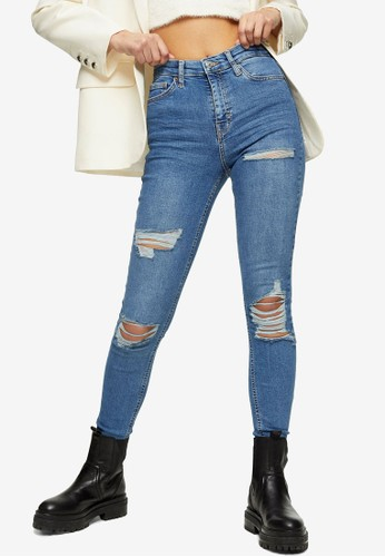 TOPSHOP blue Mid Blue Super Rip Jamie Skinny Jeans BC810AACCAA6DBGS_1