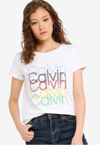 df03e508e510ea Calvin Klein white Multi Color Logo Tee - Calvin Klein Jeans  4A1D8AABF5A446GS_1