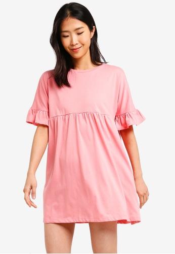 ZALORA BASICS pink Basic Jersey Smock Dress ED92EAA45EFDBFGS_1