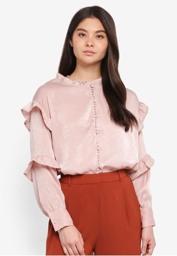 Yoco beige Frill Layer Sleeves Blouse 5B940AAB02A8A9GS_1